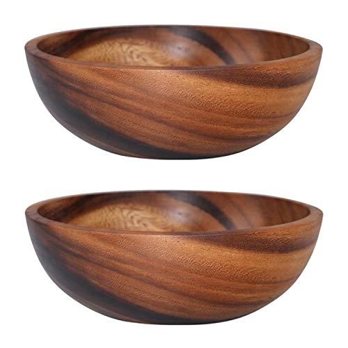 SODIAL Cuenco de Madera para Ensalada de 2 Piezas, Cuencos Peque?Os de Cocina para el Hogar para Almacenamiento de Ensaladas, Frutas y Cereales, 8X6CM