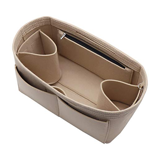 Felt Purse Organizer Insert Bag In Bag with Two Removeable Holder 8020 Beige M