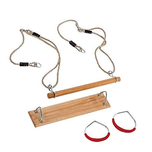 WICKEY Turngeräte-Set Schaukel Trapez Turnringe für Kinder, Sitz 400x110mm, Holz