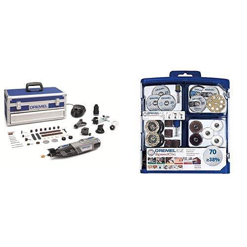 Dremel Akku Multifunktionswerkzeug 8220-5/65 (Platin Edition, 2x 2,0 Ah Akku, Ladegerät, 65tlg Zubehör Set, Aluminium Werkzeugkoffer, Karton, 12 Volt, Leerlaufdrehzahl: 5000 -33000 U/min) + Dremel 2615E725JA EZ725 725 EZ SpeedClic Zubehörset, 70-TLG, Mehrfarben
