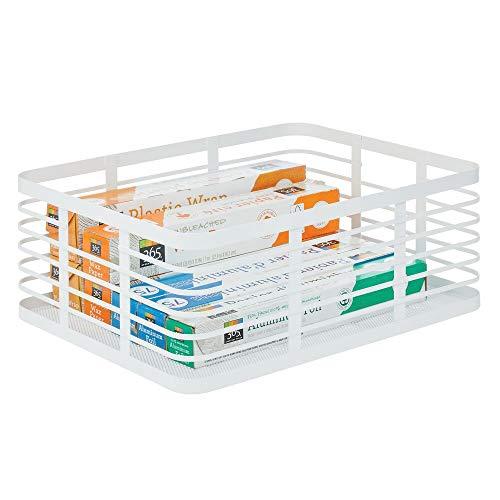 mDesign Caja multiusos de metal de 40,6 cm x 30,5 cm x 15,2 cm – Organizador de cocina, despensa, baño y más – Cesta de almacenaje de alambre, compacta y universal – blanco