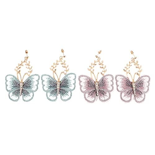 LUOEM 2 Pares de Pendientes de Mariposa Pendientes de Broche de Bordado Hoja Mariposa Perla...