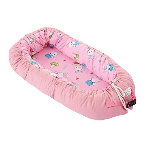 ZIXIANG Lits-Cages Portable Moelleux Respirant Snuggle Nest, Couvercle Amovible Lit Bionique 100% Coton Lit d'enfant Matelas Lits bébé Berceaux (Color : Pink)
