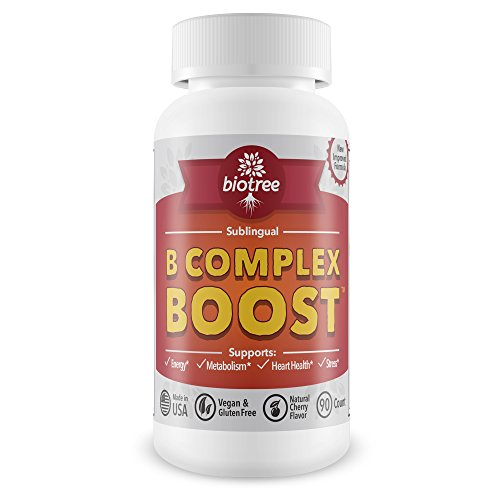 Vitamin B12 Sublingual B Complex Energy Pill B12 Methylcobalamin B6 Biotin & Folic Acid Natural Energy Supports Metabolism Heart Health & Stress Great Tasting Cherry Flavor! 100% Caffeine Free -