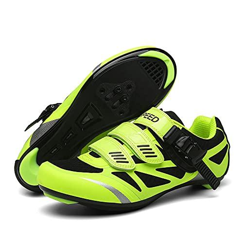 KUXUAN Calzado de Ciclismo para Hombre, Calzado para Bicicleta, Bicicleta de Montaña para Hombre y Mujer, Bicicletas de Carretera de Ocio, Zapatos con Candado de Suela Dura,Green-3.5UK=(230mm)=36EU