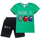 HAULBOTV Among Us Imposter Camiseta de Manga Corta con Estampado gráfico de Exquisito Juego + Pantalones Cortos Traje Casual y cómodo de 2 Piezas para niño y niña