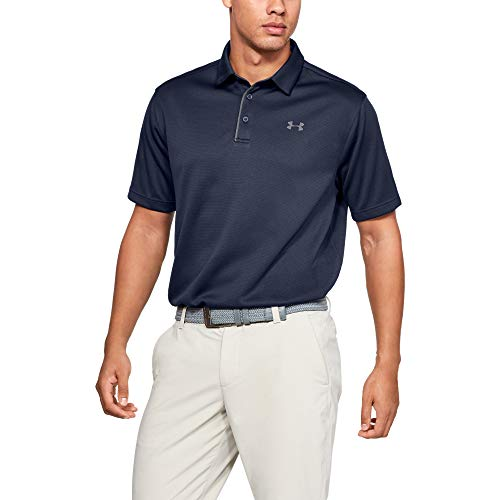 Under Armour Men's Tech Golf Polo, Midnight Navy (410)/Graphite, Large