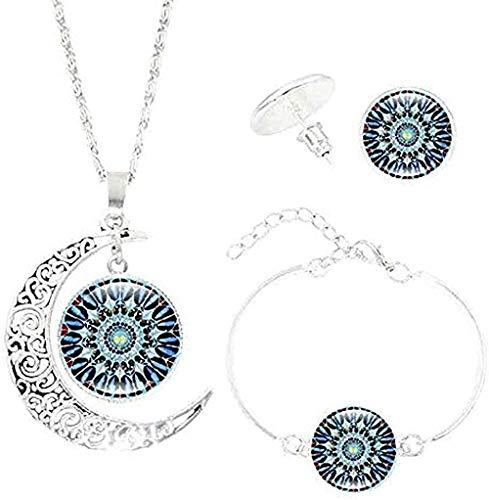 LBBYLFFF Collar con Forma de Luna, Gema del Tiempo, Colgante de Mandala, Collar, Pulsera, Pendientes, s Yoga, joyería Vintage, s para Mujeres, Hombres, Regalos