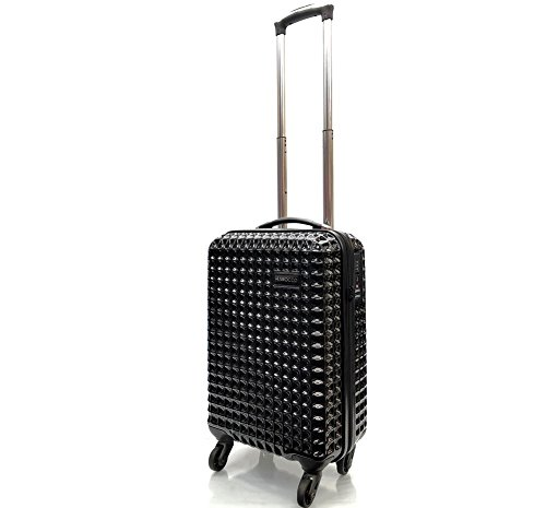 21' Premium Super Lightweight Waffle Style PC Durable Hard Shell Luggage Suitcase Travel Trolley Cases with 4 Wheels & Built-in TSA Lock Cabin Approved for Ryanair, EasyJet & BA (21' Cabin, Black)