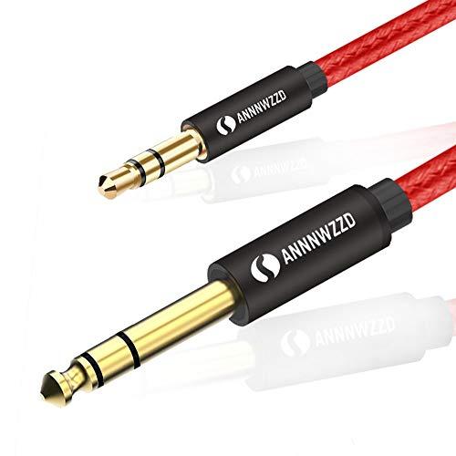 LinkinPerk Cable 3,5mm a 6,35mm,Cable Audio Estéreo HiFi Macho a Macho para móviles,Guitarras, Amplificadores Mesas de Mezclas,Tablets, Cine en Casa (2M)