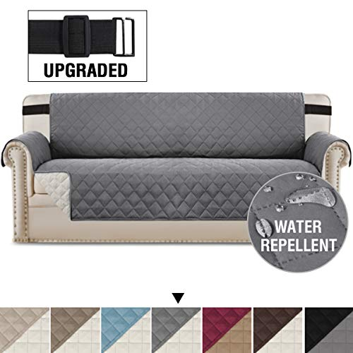 H.VERSAILTEX Reversible Sofa Slipcover Quilted Furniture Protector with 2' Elastic Strap Water Resistant Sofa Covers Seat Width Up to 78' Slipcover Protect from Dogs (Oversized Sofa, Grey/Beige)