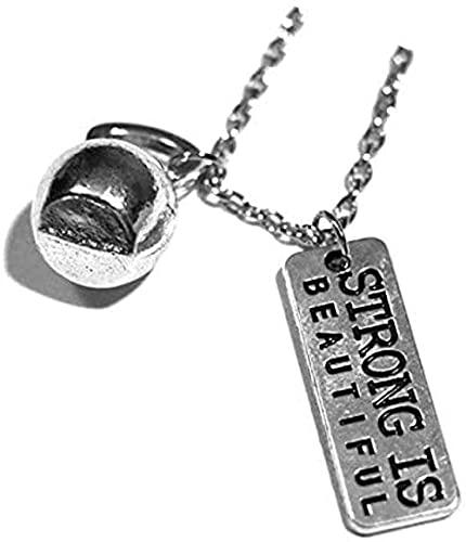 BEISUOSIBYW Co.,Ltd Halskette Frau Halskette Mann Anhänger Strong is Beautiful Amp Amp Kettlebell Halskette - Crossfit Schmuck Fitness Charm Lift Halskette Geschenk für Männer Frauen Mädchen Kinder