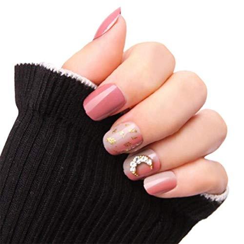 TJJF 24 pièces/boîte détachable faux ongles patch imperméable et fort ongle court avec pâte de grain verticale or presse sur les ongles