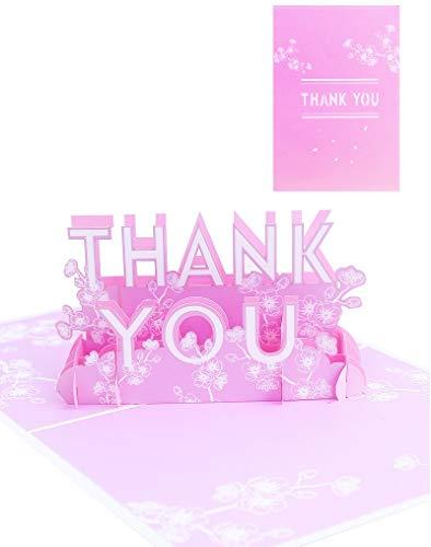 Apanphy® 3D Gracias Tarjeta Greeting Card, Creativa Thank You Card Tarjeta de Felicitación Regalo Papel Tarjeta Pop-up Tarjeta con Sobre para Día de la Madre Padre Acción de Gracias (Thank You)