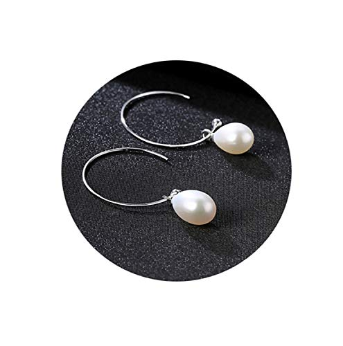 Presock Pendientes Mujer,Aretes New Fashion Big Half Circle Earwire 925 Sterling Silver Drop Earring For Women Fine Freshwater Pearl Paved Banquet Gifts White-FE0170-03F02