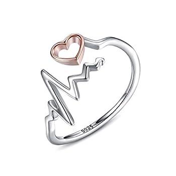 oGoodsunj 925 Sterling Silver Heartbeat Jewelry Necklace Ring Pendant for Women Girlfriend Nurse Doctor  Heartbeat Ring