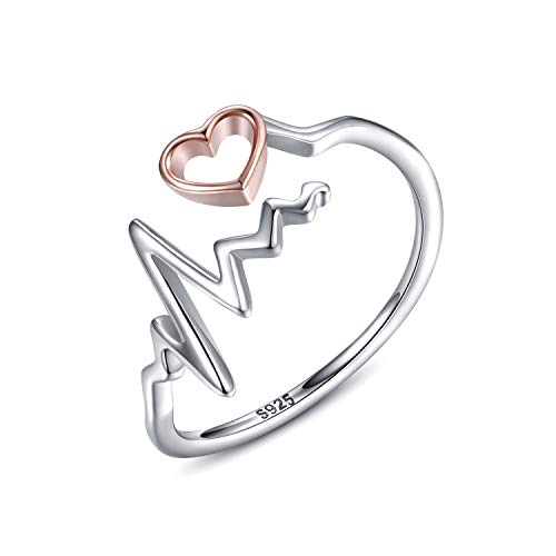 oGoodsunj 925 Sterling Silver Heartbeat Jewelry Necklace Ring Pendant for Women Girlfriend Nurse Doctor (Heartbeat Ring)