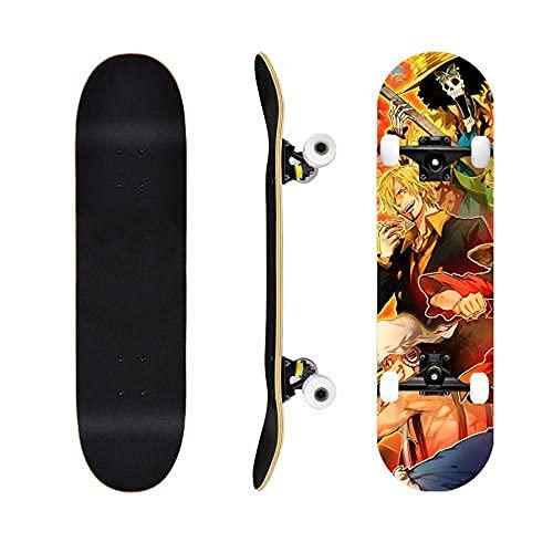 One Piece Sanji Luffy Anime Cruiser Mapate Skateboard Street Scooter Principiante Niño Adulto Muchacho Adolescente Niña Fotografía Patinea Puede ser Personalizado