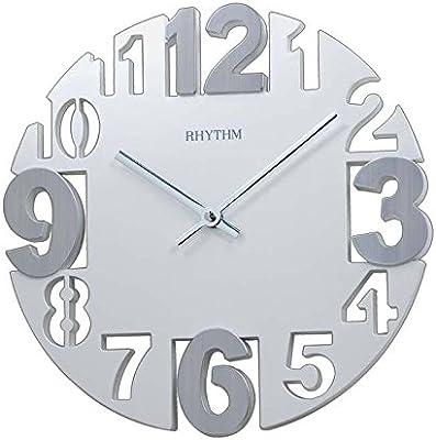 RHYTHM Value Added 3D Numerals Analogue Wall Clock (29.0x29.0x4.5 cm, White)