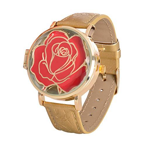 Accutime Watch Corp. Die Schöne und das Biest Disney Armbanduhr Enchanted Rose aufklappbar Analog