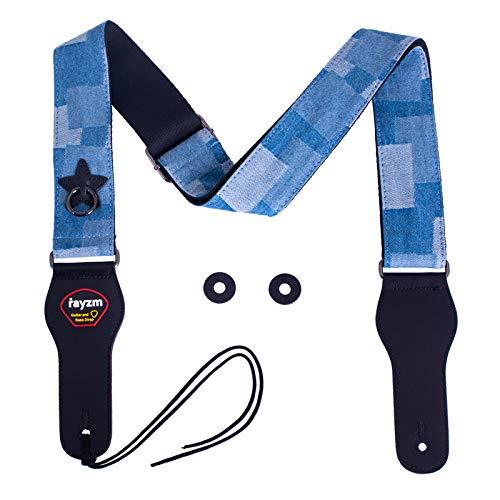 Rayzm tracolla per chitarra ricamata, cotone jacquard Tracolla per chitarra acustica/elettrica/basso con tasca porta plettri, fibbia in metallo, larghezza 5cm, lunghezza regolabile