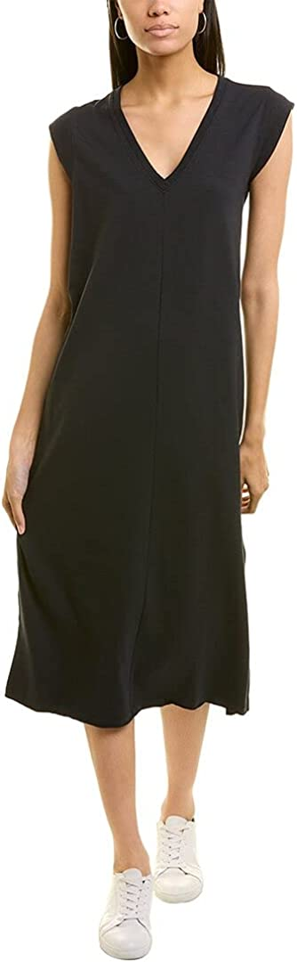 Lilla P V-Neck Rib Sleeve Midi Dress