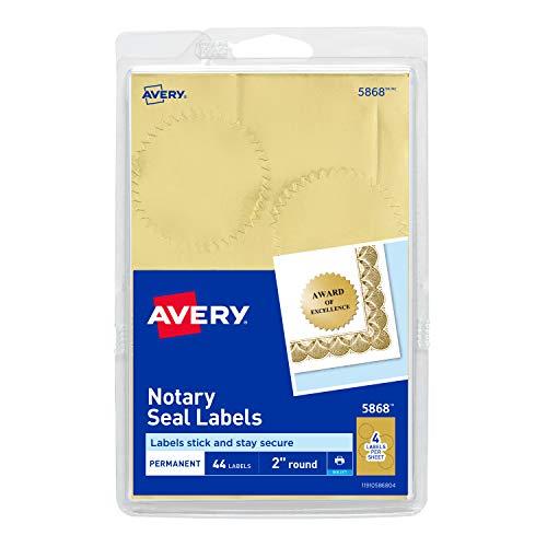 Avery Inkjet Print or Write Notarial Seals, 2 in Diameter, Gold, 44/Pack, PK - AVE05868
