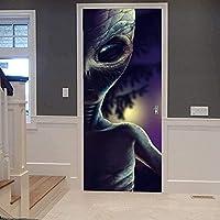 ドアステッカー 取り外し可能な防水DIYドアステッカー 寝室の リビングルーム オフィスの バスルーム などに適しています PVC粘着ドア壁画 サイズ77X 200 cm(ダークマーシャン)