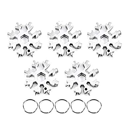 Yoruii 18-in-1 Snowflake Multi-Tool,Stainless Steel Multitool Card Combination Compact Portable Outdoor Products Snowflake Tool Card 5Pack Silver