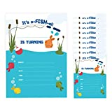 Fishing 2 Happy Birthday Invitations Invite Cards (10 Count) With Envelopes Boys Girls Kids Party (10ct)