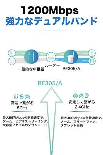 TP-LinkWiFi中継器AC1200中継器無線LAN中継機867+300MbpsハイパワーブリッジデュアルバンドAPモード搭載中継器RE305V3.03年保証