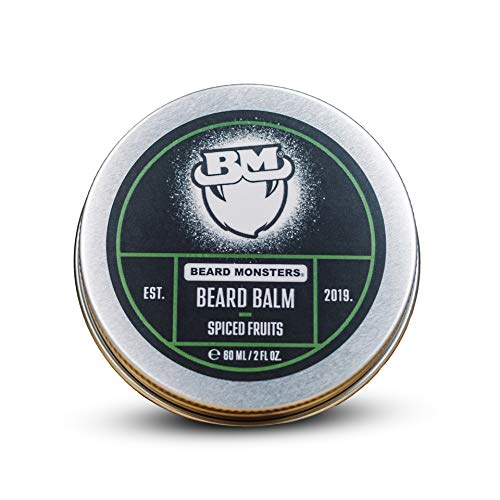 Beard Monsters Beard Balm for Men 60ml {Spiced Fruits} Nourishes Moisturizes and Conditions Relieves Beard Itch and Dandruff Non Greasy Shine, Cruelty Free Organic Ingredients