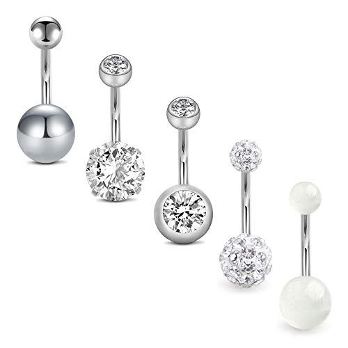 "D.Bella 14G Stainless Steel Belly Button Rings 10mm 3/8"" Barbell Belly Navel Rings Piercing for Women Girls"