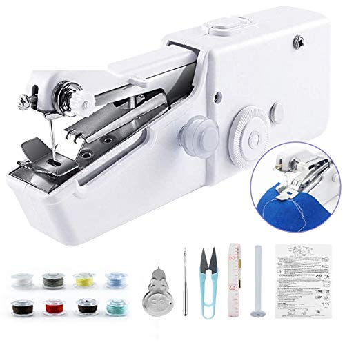MIXI Hand Sewing Machine for Beginners, Mini Stitching Sewing Machine Hand Electric Cordless Portable Sewer Machine for Kids Clothes, Home, DIY Accessories