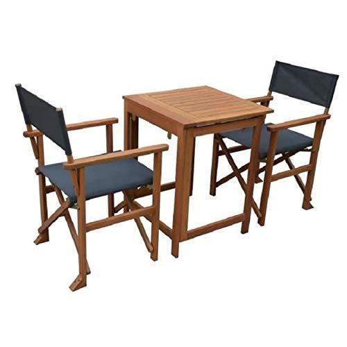 Ensemble de table + 2 fauteuils en eucalyptus fsc et textilene