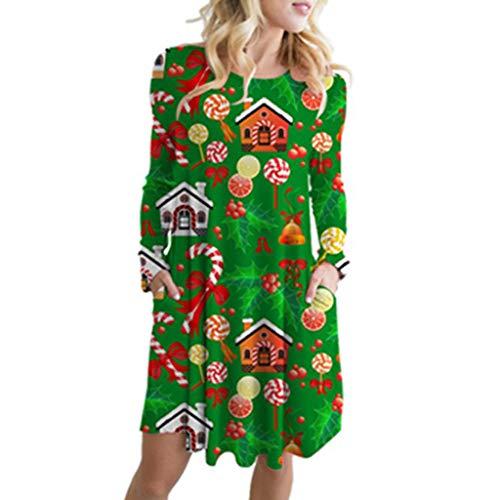 Rosennie Damen Weihnachten Langarm Minikleid Spitzenkleid Frauen Weihnachten Damen Langarm Swing Kleid Mini Kleider Retro Großes Weihnachtskleid Drucken Kleider Elegant T-Shirt Kleid (S, A Grün)