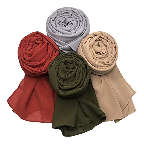 MANSHU 4 PCS Women Soft Chiffon Scarves Shawl Long Scarf Wrap Scarves B Series