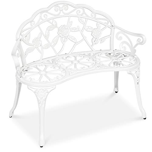 Best Choice Products Steel Garden Bench Loveseat Outdoor Furniture for Patio, Park, Lawn, Deck w/Floral Rose Accent, Antique Finish - White