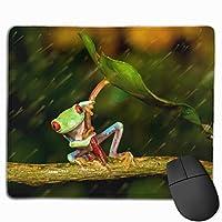 マウスパッド 雨の中 カエル 高級感 おしゃれ 防水 耐久性が良い 滑り止めゴム底 ゲーミングなど適用 ( 30*25*0.5cm )マウスパッド