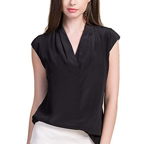 DISSA Blusa de seda para mujer, cuello en V, informal, de seda, BS8027 Negro 42