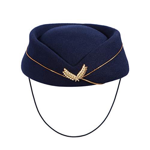Amosfun Gorra de azafata Azul Marino Azafata Azul Marino Sombrero de Lana para Asistente de Vuelo para el Rendimiento de Halloween Cosplay