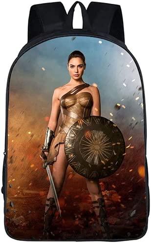 Wonder Woman Mochila escolar, infantil, dibujos animados, Anime Campus, mochila escolar, mochila de anime, estilo de pintura para niños y niñas, mochila escolar (Wonder Woman 16 cm)