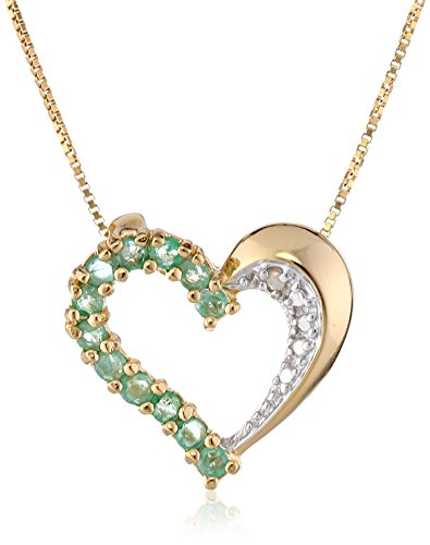 14K Yellow Gold Evil Eye Heart Charm Pendant with 1.6mm Figaro 3+1 Chain Necklace
