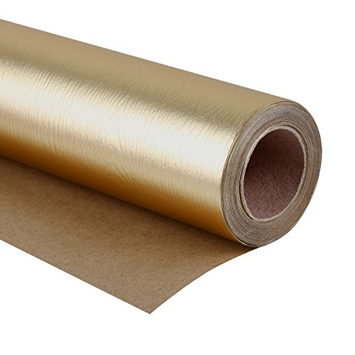 WRAPAHOLIC Wrapping Paper Roll - Basic Texture Matte Gold for Birthday, Holiday, Wedding, Baby Shower Wrap - 30 inch x 16.5 feet