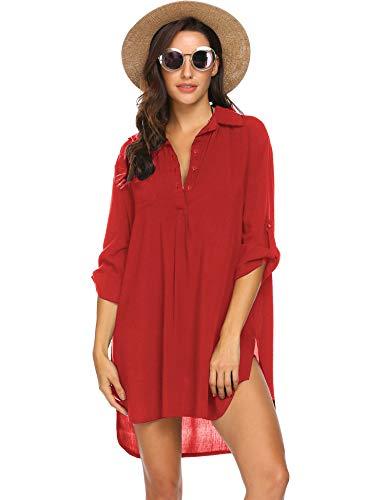 Ekouaer Women's Cover Up Shirt Swimsuit Beach Bikini Beachwear Bathing Suit Red