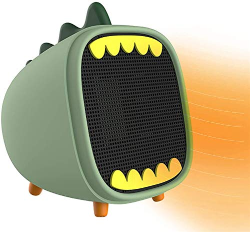 BEIAKE Mini Home Electric Heater with Over Temperature Dinosaur 2-Step Switch PTC Ceramic Heating Desktop Office Bathroom,Green