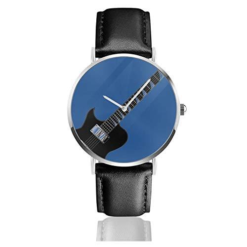 Reloj Clásico, Guitarra Eléctrica Sobre Fondo Azul Correa De Cuero Negro Relojes...