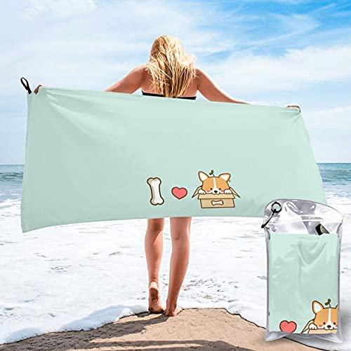 Mgbwaps I Love You - Toalla de baño Shiba Inu, toalla de gimnasio, toalla de playa, uso multiusos para deportes, viajes, súper absorbente, microfibra suave de secado rápido, ligero