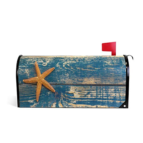 KUWT Magnetic Mailbox Cover Beach Wood Starfish Home Garden Yard Outdoor Deco (20.8 x 18 inch, Beach2)