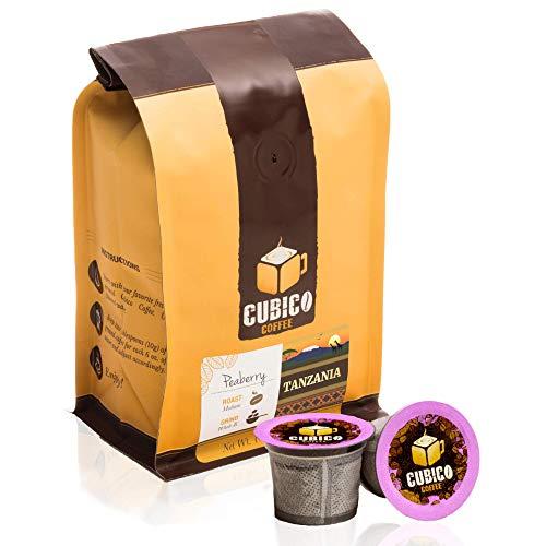 Tanzania Peaberry Coffee - Single Serve Capsules for Keurig K-Cup Brewers - Freshly Roasted Coffee - Cubico Coffee - (10 Capsules Medium Roast) …